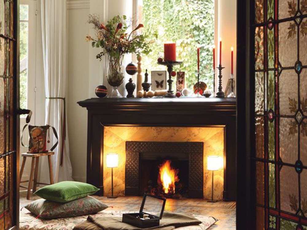 Rustic Mantel Fireplace Design